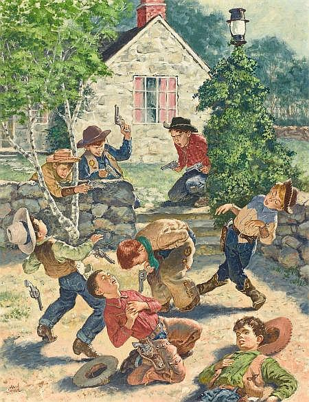 AMOS SEWELL (American, 1901-1983) Kids Playing