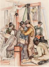 William L'Engle (American, 1884-1957) Builders, 1936 Watercolor and pencil on pa
