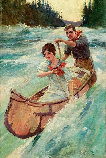 OLIVER KEMP (American, 1887-1934) Canoeing Oil on