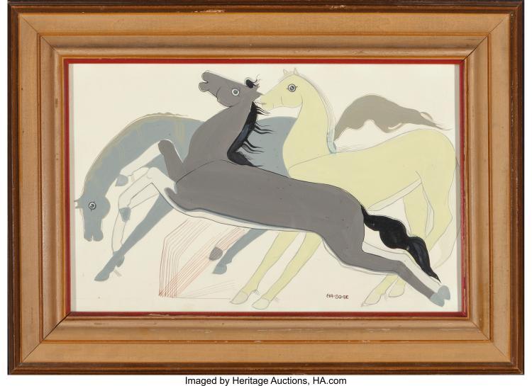 NARCISO PLATERO ABEYTA (HA-SO-DE) (NAVAJO, 1918 - 1998) UNTITLED GOUACHE ON PA