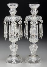 A Pair of Cut-Glass Candlestick Lustres from Shirley Te