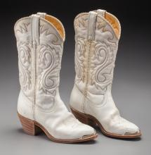 Shirley Temple Owned Cowboy Boots.  A pair of white lea