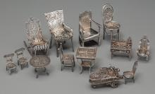 Thirteen Pieces of Silver Dollhouse Furniture, early 20