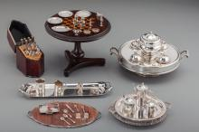 A Collection of Silver, Glass, and Wooden Dollhouse Min