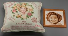 Shirley Temple Needlepoint Pillow and Portrait.  Two fa