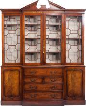 A Chippendale-Style Glazed Mahogany Breakfront Secretar
