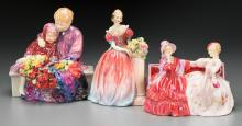 Three Royal Doulton Polychrome Porcelain Figural Groups