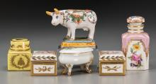 A Group of Six French Polychrome and Partial Gilt Porce