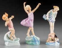 Three Royal Worcester Polychrome Porcelain Figures Mode