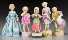 A Group of Five Royal Worcester Polychrome Porcelain Fe