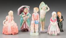A Group of Six Royal Doulton Polychrome Porcelain Figur