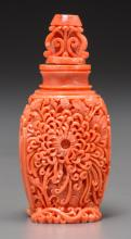 A Chinese Carved Coral Snuff Bottle 3-3/8 inches high (