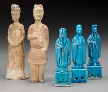 Five Chinese Tang-Style Glazed Porcelain and Plaster Fi