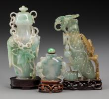 A Chinese Hardstone Covered Urn and Two Snuff Bottles 6