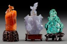 Three Chinese Turquoise and Agate Carved Snuff Bottles