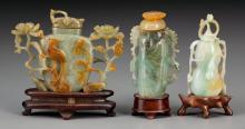Three Chinese Carved Jade, Jadeite and Hardstone Snuff