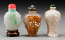 Three Chinese Agate, Jadeite and Porcelain Snuff Bottle