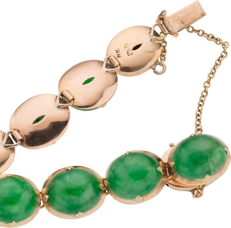 a jadeite jade gold base metal jewelry suite bracelet