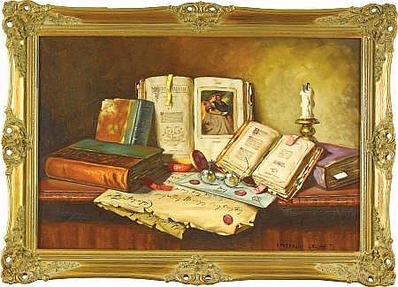 JANOS APATFALVI CZENE (Hungarian, 1904-1984) Still Life Of Books And Objects Oil  on canvas 24 x 36in. Signed lower right