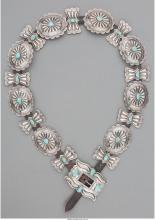 A NAVAJO SILVER AND TURQUOISE CONCHO BELT C. 1960   SILVER, TURQUOISE, COPPER, C