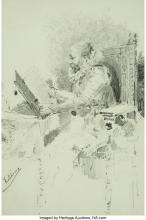 Eugenio Oliva Rodrigo (Spanish, 1857-1925) Seated bearded man in 17th century co