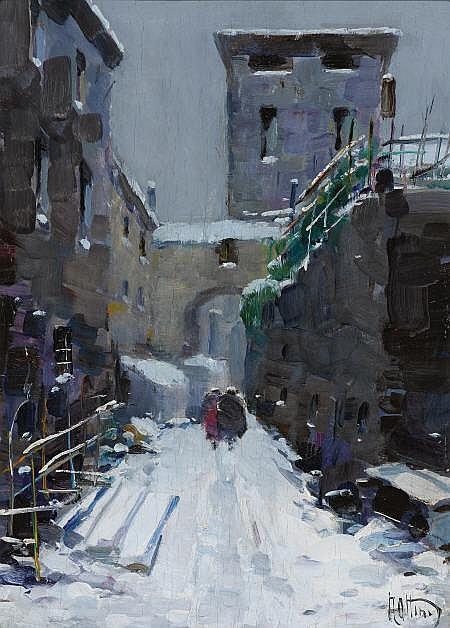 VITTORIO NATTINO (Italian, 1890-1971) Snowy Stroll