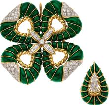 Diamond, Malachite Jewelry Suite  The suite includes a