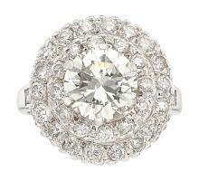 Diamond, Platinum Ring  The ring features a European-cu
