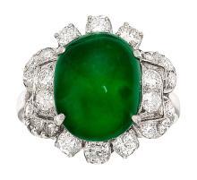 Jadeite Jade, Diamond, Platinum Ring  The ring features