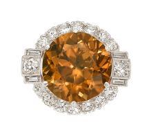 Zircon, Diamond, Platinum Art Deco Ring  The ring featu