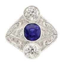 Art Deco Sapphire, Diamond, Platinum Ring  The ring fea
