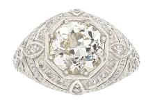 Edwardian Diamond, Platinum Ring  The ring features a E
