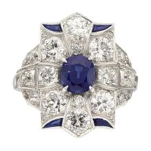 Sapphire, Diamond, Platinum Ring  The ring centers an o
