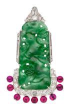 Art Deco Jadeite Jade, Diamond, Synthetic Ruby, Platinu