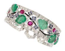 Diamond, Multi-Stone, Platinum Bracelet  The bracelet f