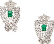 Emerald, Diamond, Platinum Earrings  The earrings featu