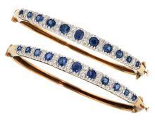 Diamond, Sapphire, Gold Bracelets  The pair of hinged b