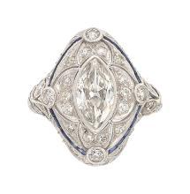 Art Deco Diamond, Synthetic Sapphire, Platinum Ring  Th