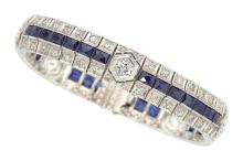 Art Deco Diamond, Synthetic Sapphire, Platinum Bracelet