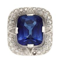 Synthetic Sapphire, Diamond, Platinum Ring  The ring fe