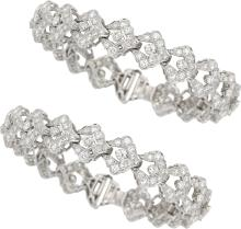 Diamond, Platinum Bracelets  The bracelets feature full