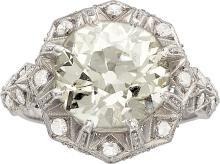 Art Deco Diamond, Platinum Ring  The ring features a Eu