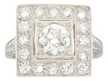 Art Deco Diamond, Platinum Ring  The ring centers a Eur