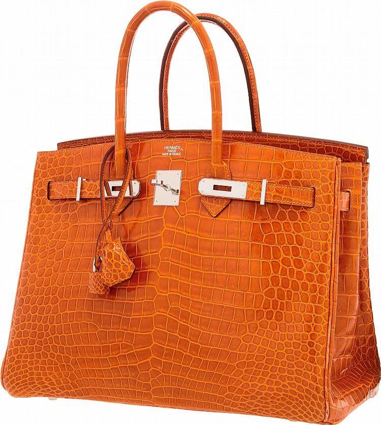 24e06f1d409 Lot 58279  Hermes 35cm Shiny Orange H Porosus Crocodile Birkin Bag