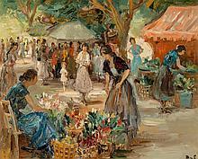 Marcel Dyf (French, 1899-1985) Marché aux fleurs à Arle