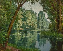 Henri Biva (French, 1848-1928) Midsummer water lilies O