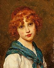 Eugen von Blaas (German, 1843-1931) Girl with a blue sc