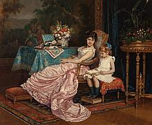 Auguste Toulmouche (French, 1829-1890) A mother and dau