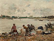 Eugène Louis Boudin (French, 1824-1898) Laveuses au bor