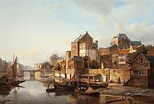 Kasparus Karsen (Dutch, 1810-1896) A view of a town by